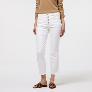 J. Crew White Vintage Cropped Jean with Button Fly